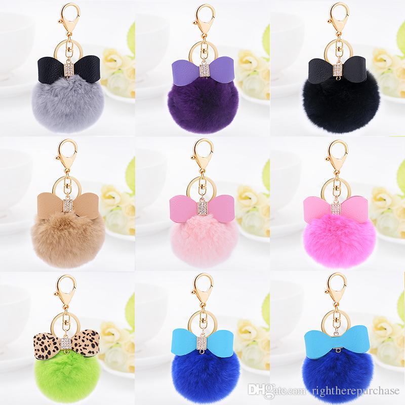 2019 2017 Fur Fluffy Rabbit Fur Ball Keychain Furball Clover Key Ring Key  Chain Fur Bag Charm Women Bag Accessories For Gift From Rightherepurchase bb75eb02c33f1