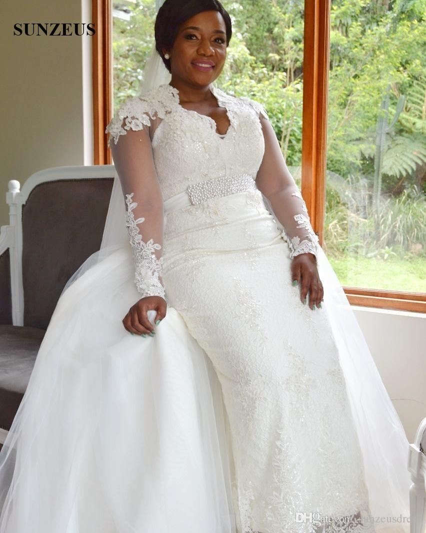 Cheap Wedding Dresses To Rent: Sheath Lace Wedding Dresses With Detachable Skirt Elegant