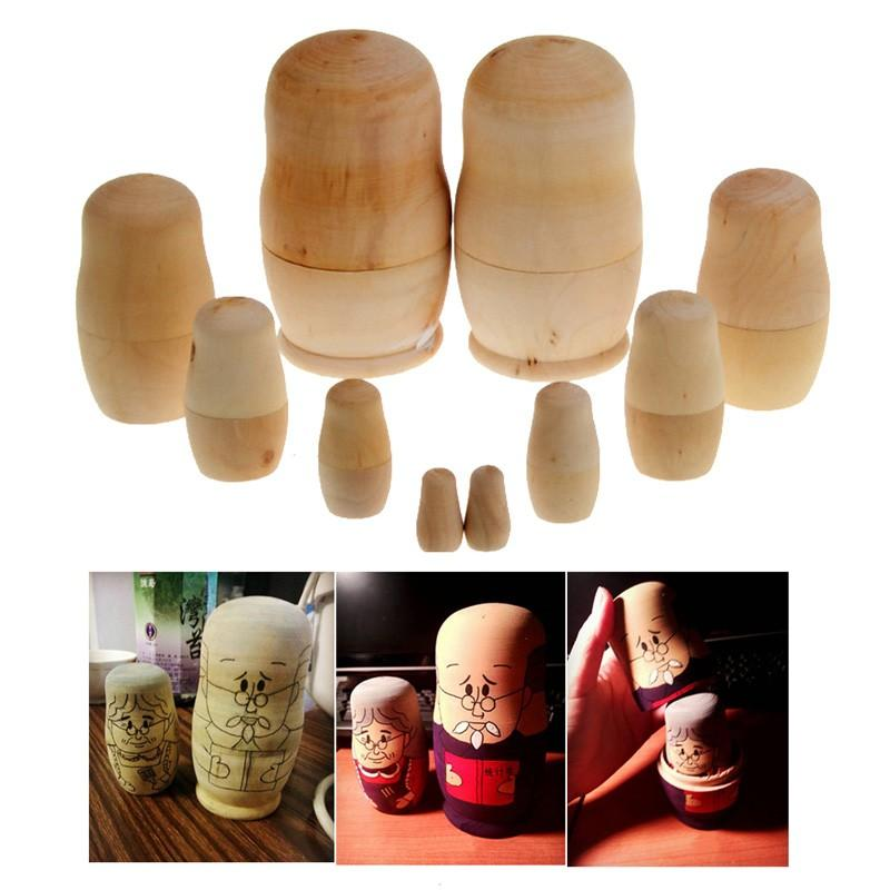 5pcs/set Unpainted DIY Blank Wooden Russian Nesting Dolls Matryoshka Gift Hand Paint Toys Home Decoration Gifts