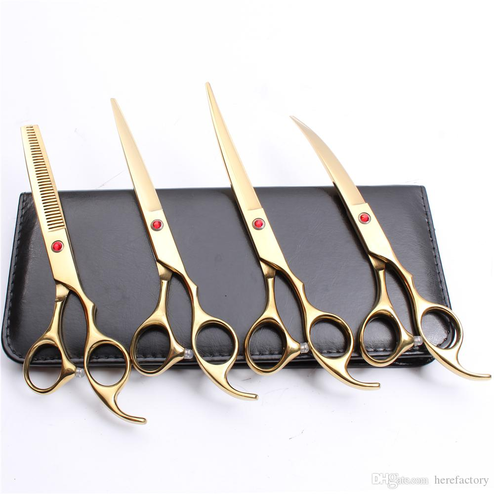 4 Stücke Anzug 7 Zoll 440C Kundenspezifische Logo Professionelle Haar Friseurscheren Schneidescheren + Effilierschere + UPDown Gebogene Scheren C3003