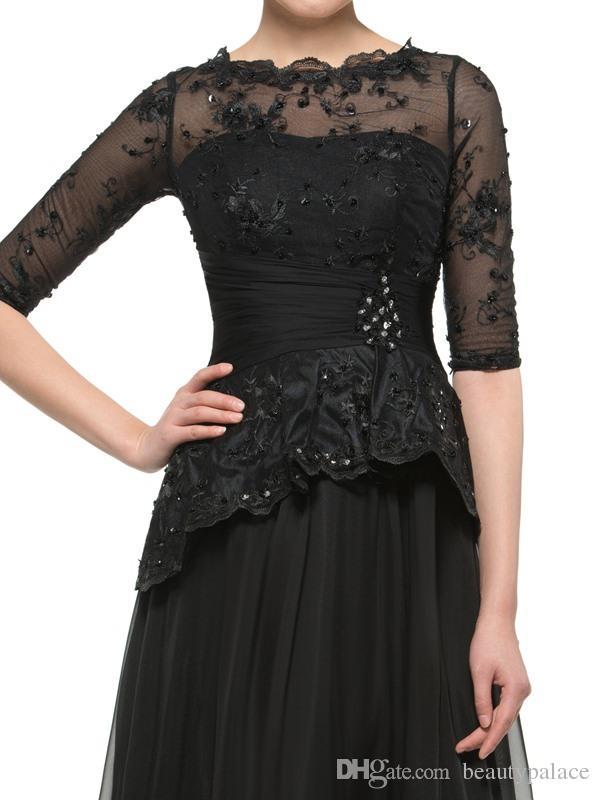 패션 라인 보석 드레스 바닥 길이시 폰 검은 어머니 신부 드레스 레이스 파란색 된 사용자 지정 만든 된 싼 레이스 어머니의 이브닝 가운