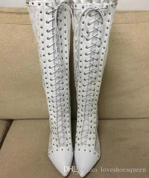 women over knee high heel boots tall gladiator booties lace up spike stud boots thin heel white bota dress shoes
