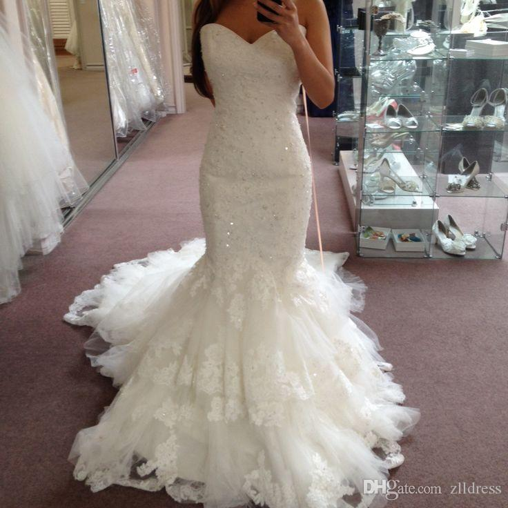 2017 strapless fishtail lace wedding gowns dresses for White fishtail wedding dress