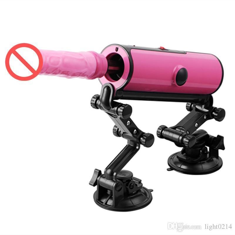 Ayarlanabilir Seks Makinası Kadınlar E5-1-17-X3 için Uzaktan Kumanda 3 Titreşimler 3 baskılama aracı Otomatik Isı Dildo Aşk Gun Elektrikli Vibratör