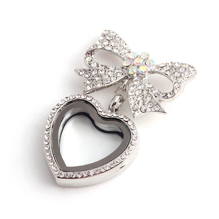 حار القلب bowknot العائمة المدلاة مع الماس الكريستال المعلقات سحر المناجد ل diy القلائد شخصية الرجعية