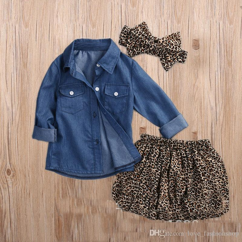 Baby Girls denim Leopard three pieces Setcowboy shirt + skirt + leopard headdress Cute Kids Long Sleeve Outfits sets Children Suits Cloth