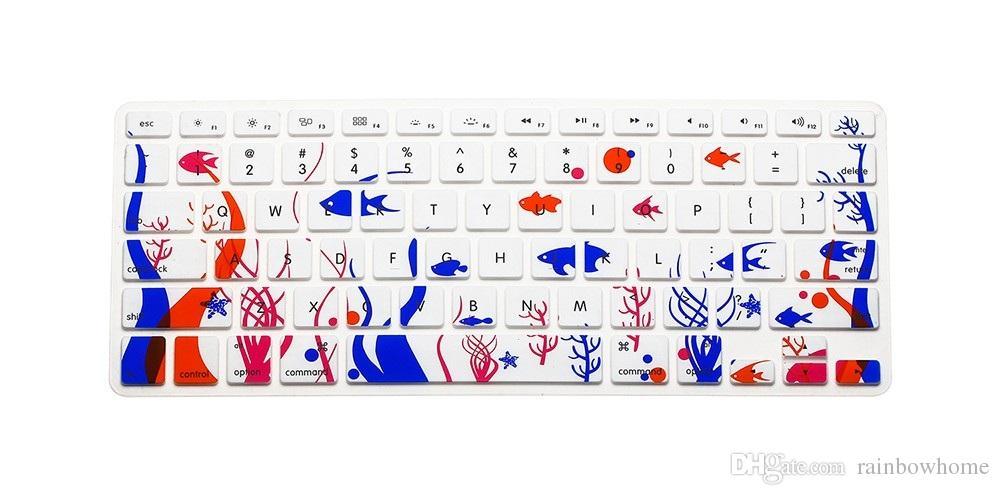 سيليكون زهرة صائق قوس قزح لوحة المفاتيح غطاء حامي الجلد لوحة المفاتيح لأبل ماك بوك برو 13 15 17 الهواء 13 الشبكية 13 الولايات المتحدة OEM