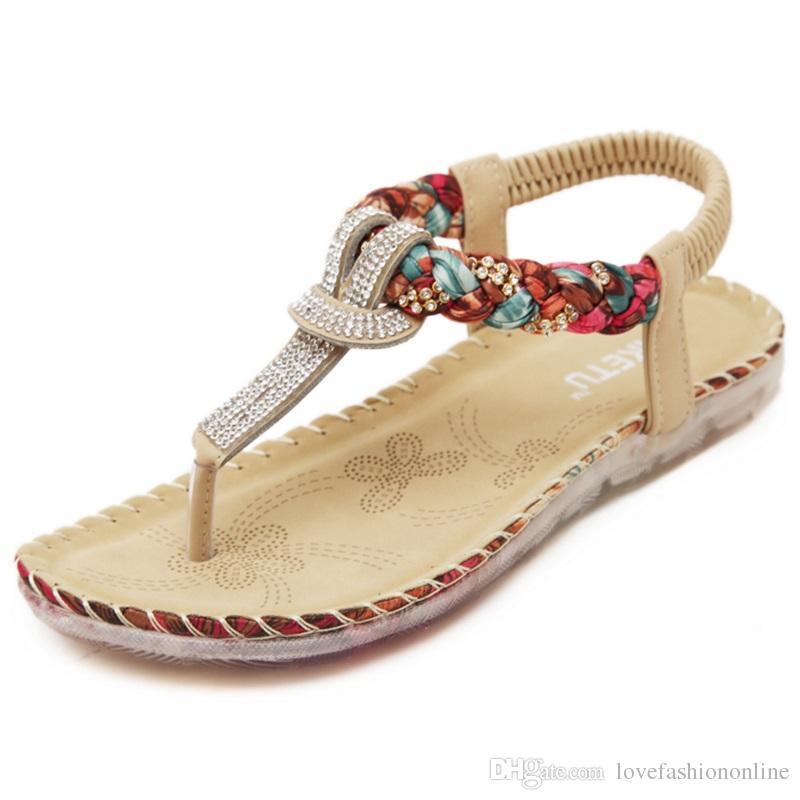 7697fb747 Exquisite Diamond Bohemian National Rhinestone Fashion Flat Shoes ...