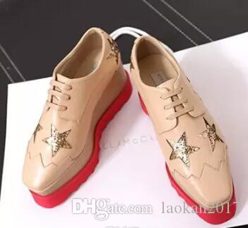 2017 neue großhandel Schwarz Stella Mccartney Schuhe Frau Plattform Elyse Keil Schuhe Doppelplattform Ferse Derbys Keil Schnürschuhe