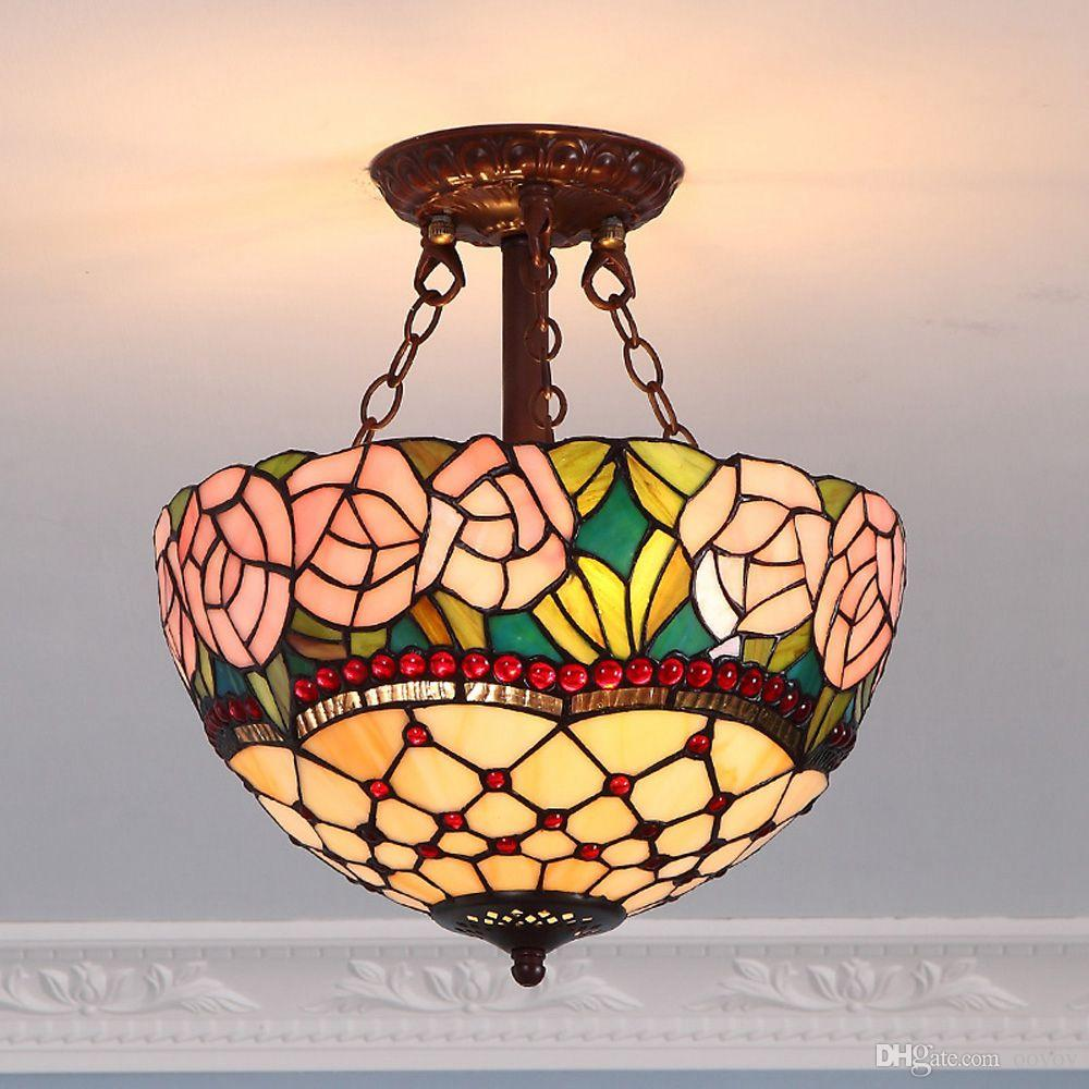 OOVOV Tiffany Pink Rose Pendant Lamp Retro Bedroom Dining Room Balcony Entrance Ceiling Pendant Light Fixtures
