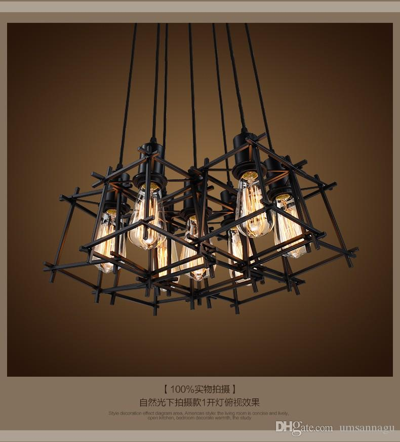 Luzes Pingente de Suspensão do vintage Luminária de Metal Preto Pingente de Lâmpadas de Iluminação Para Casa Interior Americano Industrial Retro Droplight Luminária Europeia