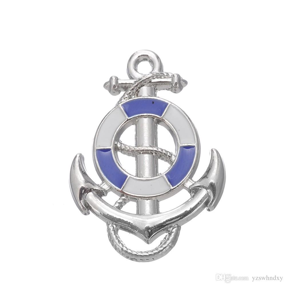 Azul Rosa Navio Roda Com Âncora Náutico Charme Pingente Fit Pulseira Fazendo Homens Jóias Para Explorador Marítimo