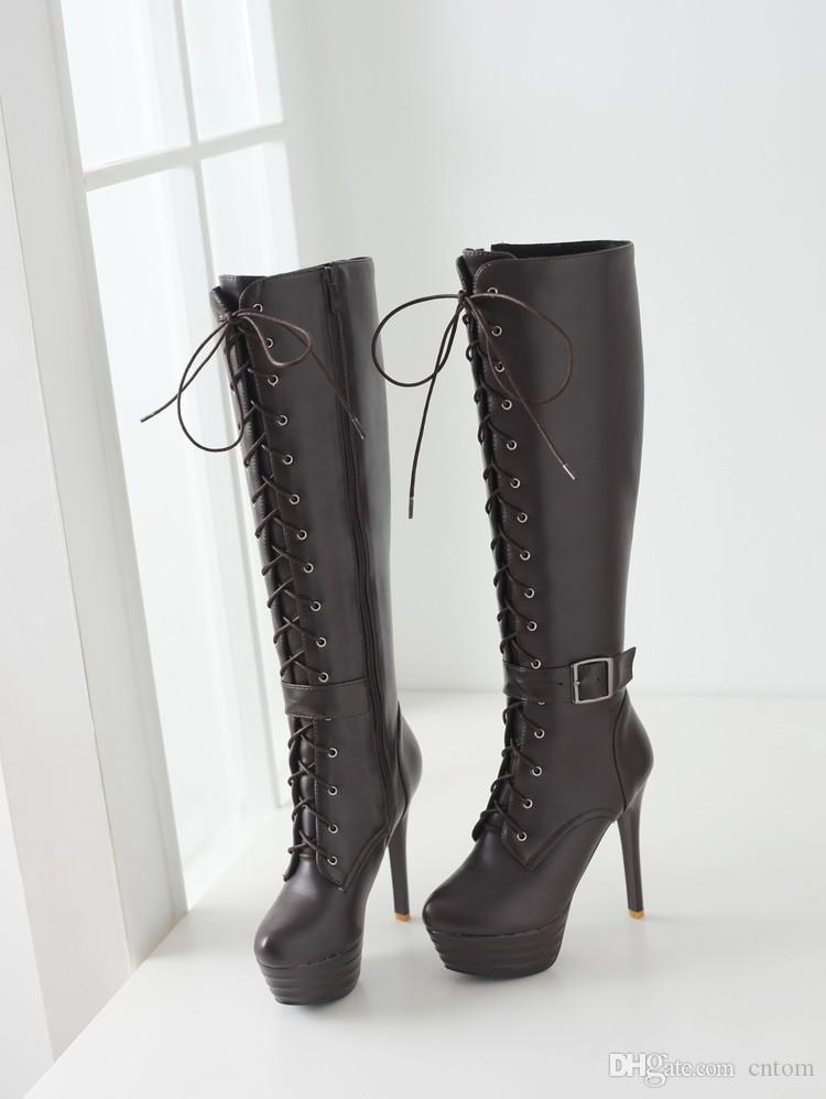 Stiefel PU 33 40 41 Schuhe der Frau, die kleine Yards 32 High Heel 13CM Plattform 4.5cm EUR Größe 31-45