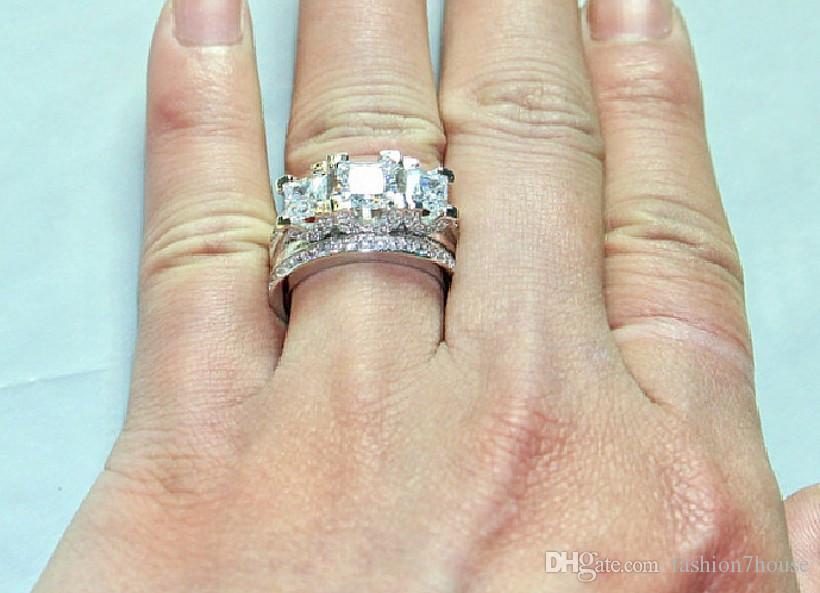 Marke edelstein ring Finger Drei steine weiß Diamant Ringe set 2-in-1 925 Silber Engagement Ehering Für Frauen