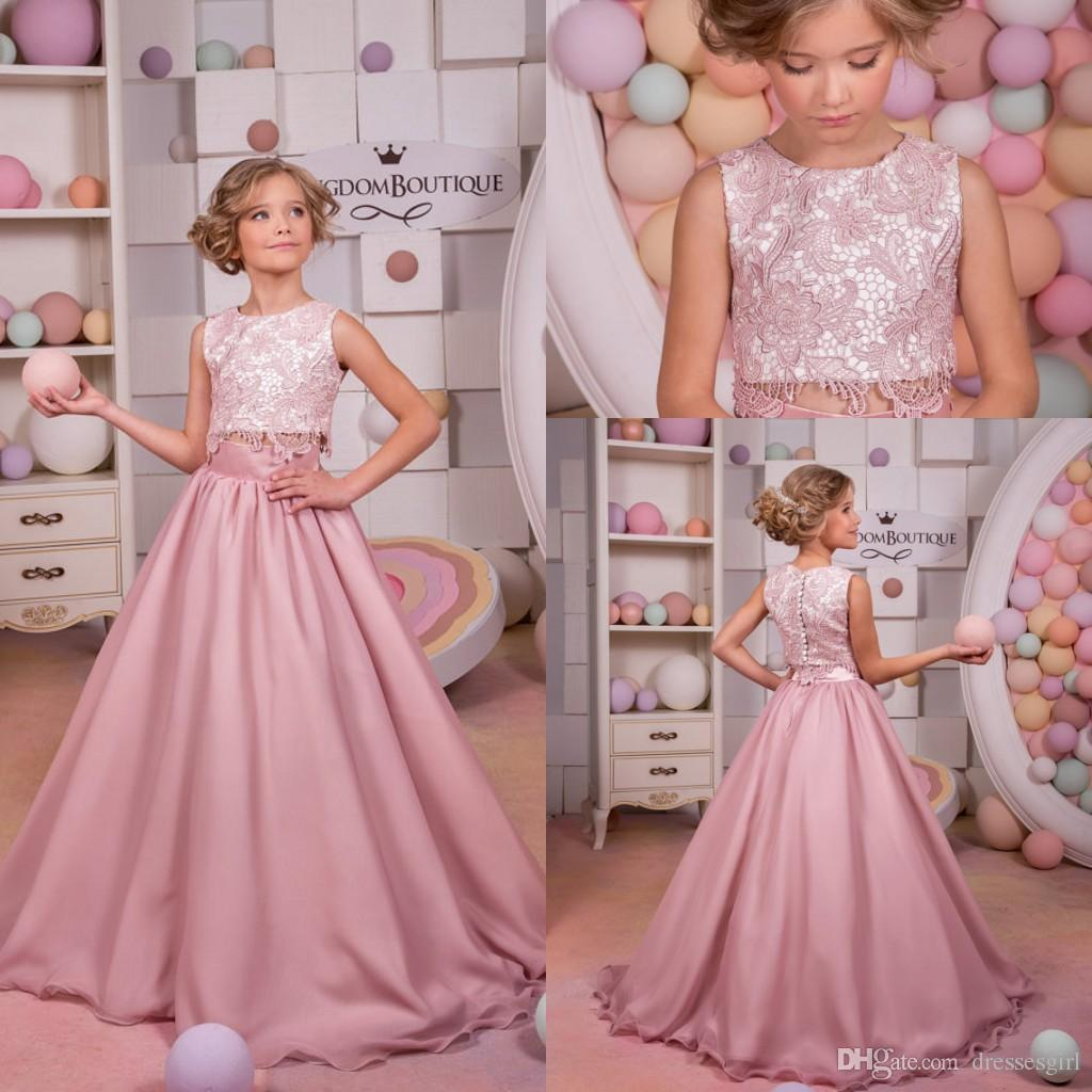 2017 Hot A Line Pink Flower Girl Dresses Two Piece Girl Pageant