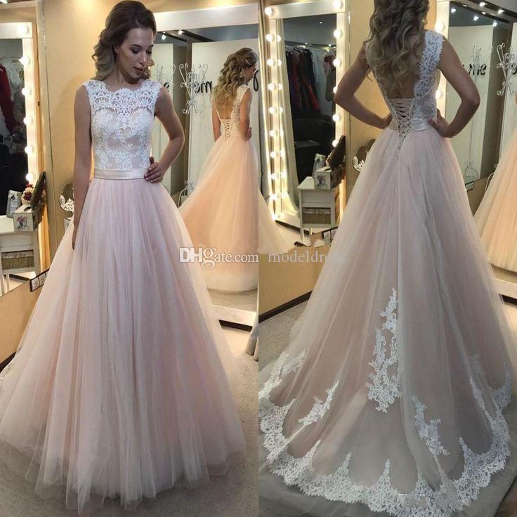 Discount Fairy Blush Beach Wedding Dresses Bateau Appliques