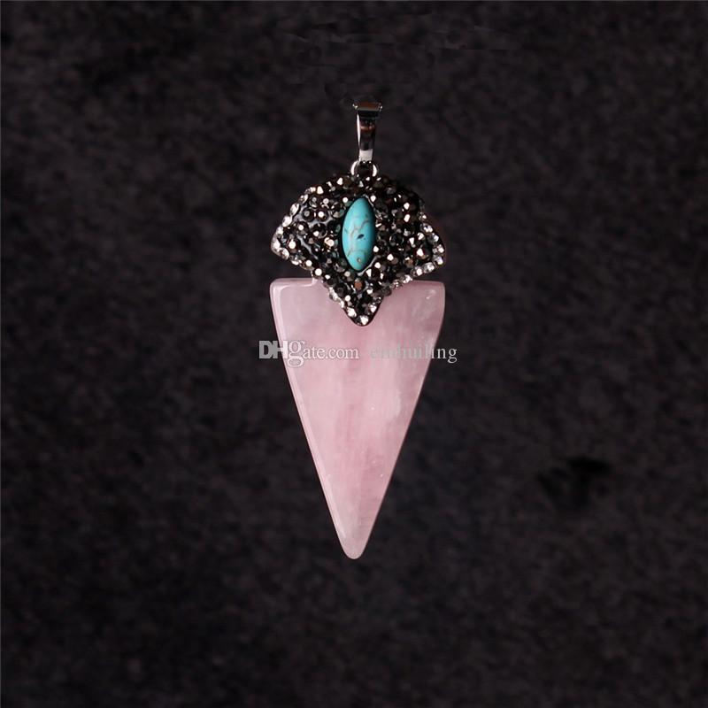 Geometric Triangle Pointed Reiki Energy Pendant Luxuious Pesonality Nature Cherry Quartz Lapis Lazuli Crystal Pave Zircon Turquoise Beads