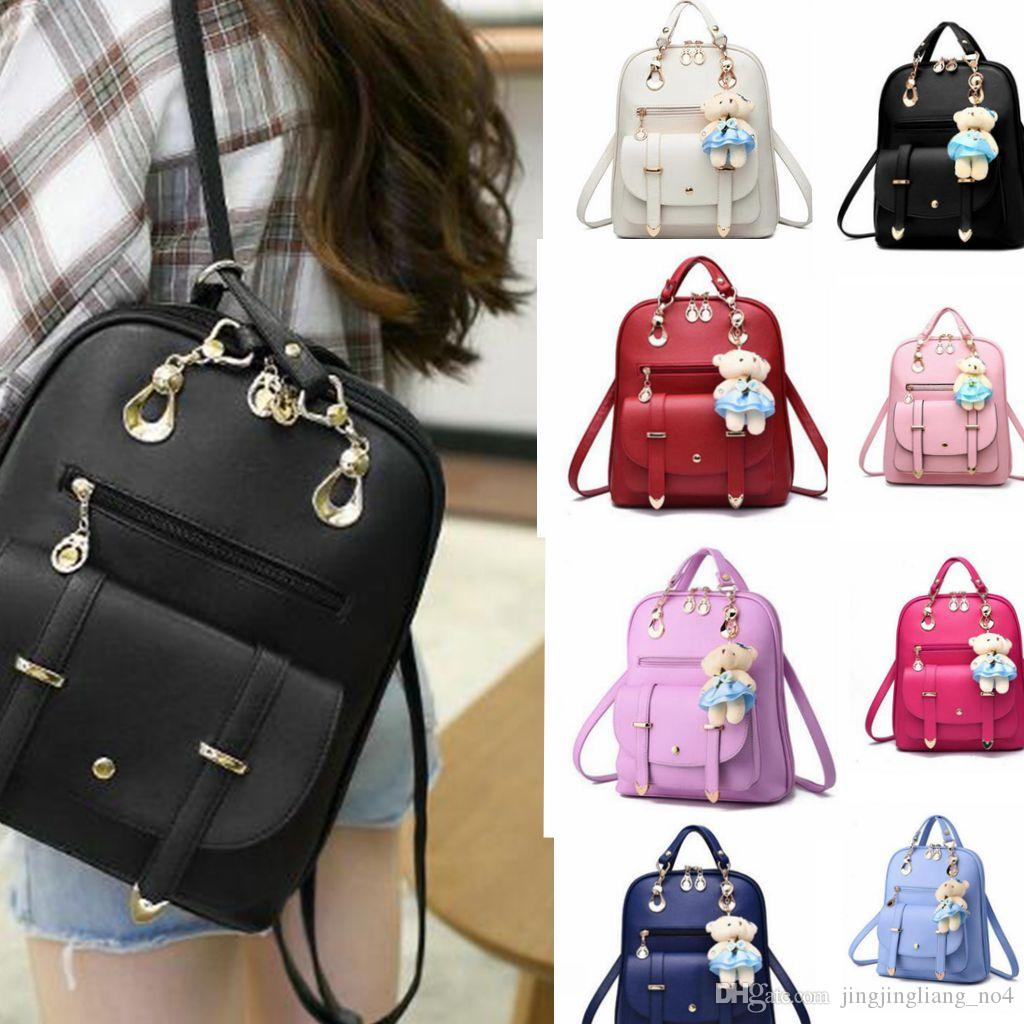 7de4ffa1e Women Girls Backpack Leather School College Party Travel Bag With Bear  Schoolbag Travel Backpack Shoulder Bag KKA2482 Swissgear Backpack Swiss  Backpack From ...