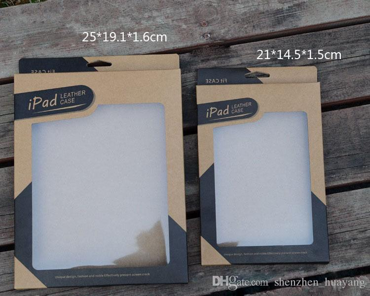 Kraft paper Retail package box for i pad mini 2 3 4 5 air 2 Tablet PC 7.9 9.7 inch Leather Case Cover Cases packaging boxes