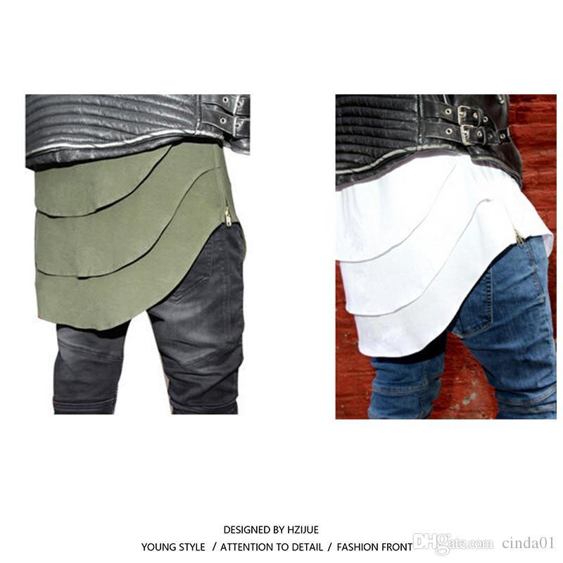 Genişletilmiş Tişörtlü Mens Fishtail Çoklu erkek için Kavisli Hem Yan Fermuar Kısa Kollu Longline Hip Hop BATI tee tepelerini katlayın