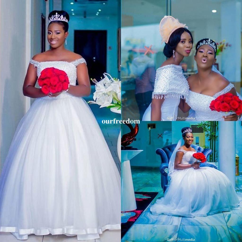 2018 New White Heavy Pearls Wedding Dresses Spaghetti Straps A Line ...