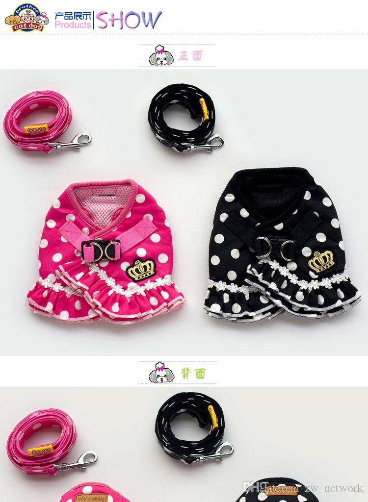 Hot sale dot Dog collars Leashes new design cute dog Traction rope chest strap dog rope dot pet clothes