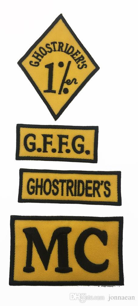 Nuovo Arrivo 7 pz / set GHOSTRIDER'S GERMANIA Ricamato Iron-On Sew On Back Patch Biker Rider Patch Jacket Vest Patch Spedizione Gratuita