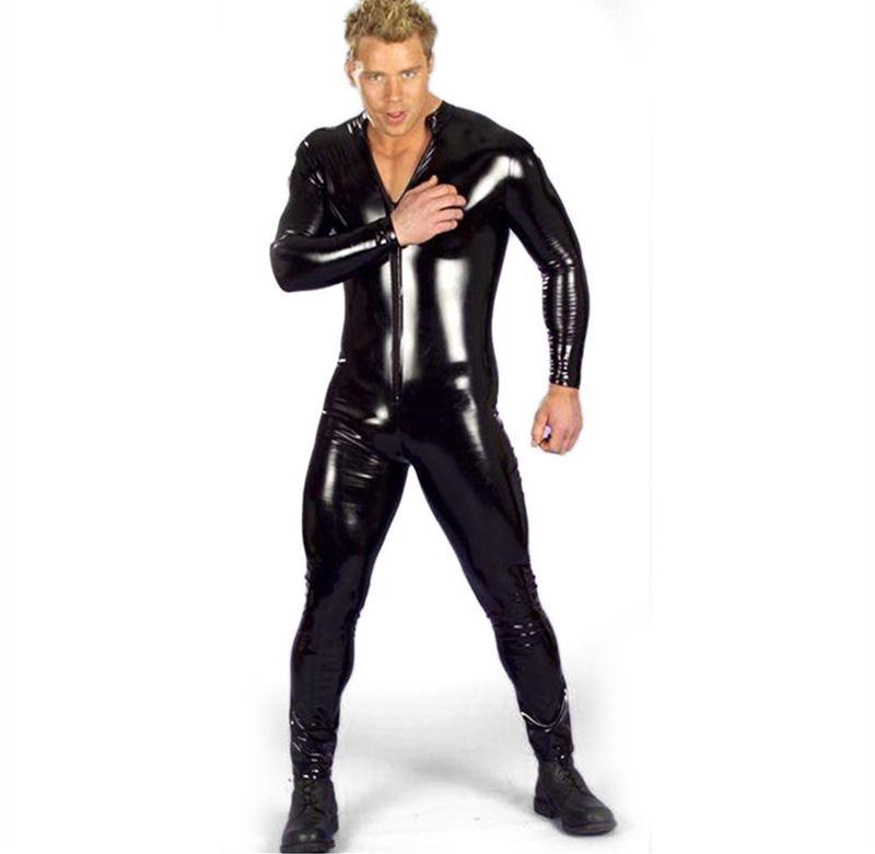 c165f5312a Hot New Arrival Black Zipper Catsuit Long Sleeve Wet Look Vinyl Faux ...