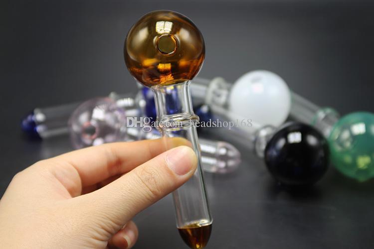 2017 O vidro colorido Pyrex prego queimador de óleo Tubo de vidro claro queimador de óleo Oil frete grátis