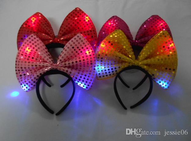 Pailletten led hoofdband lichte partij hoed lichtgevende knipperende knipperende feestartikelen Kerst Halloween Club Stage Fancy Dress Props