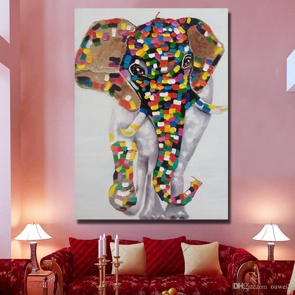 Top quality cheap price for wholesale cartoon animal thai elephant 1 oil paintng Large Canvas Art Cheap