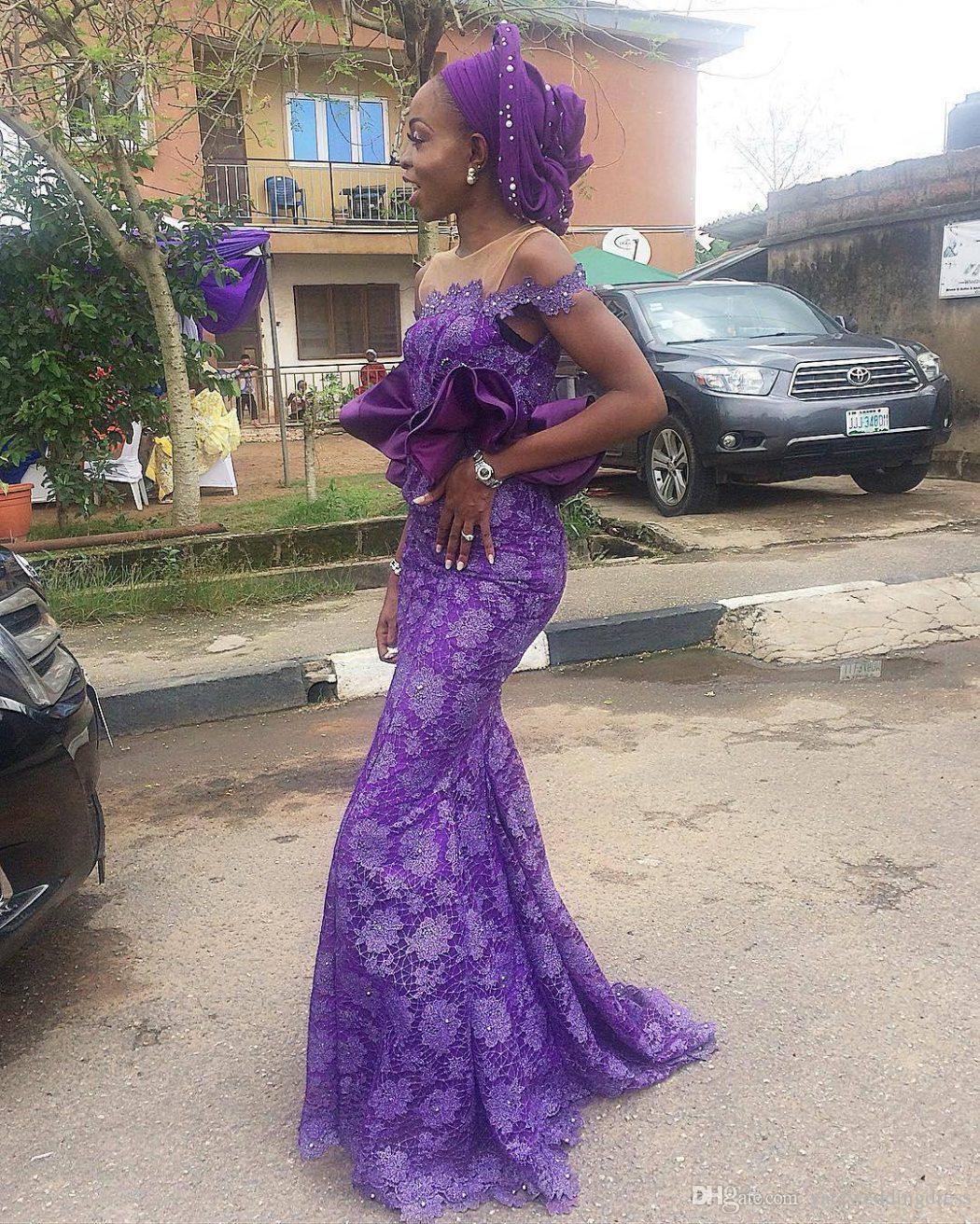 Paars 2017 Off Shoulder Avondjurken met Kant Applique Mermaid Prom-jurken Back Rits Custom Made Peplum Formele Gelegenheid Feestjurken