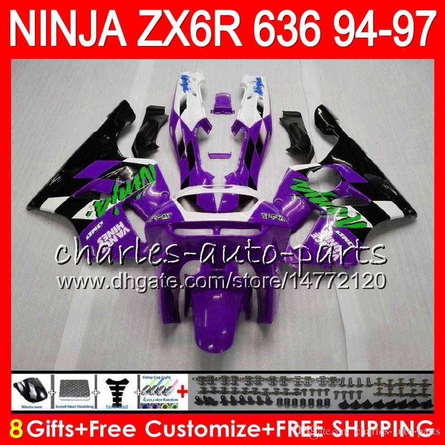 8Gifts For KAWASAKI NINJA ZX6R 94 95 96 97 600CC ZX-6R 33NO67 purple black ZX636 ZX 636 ZX 6R ZX600 1994 1995 1996 1997 Fairing kit
