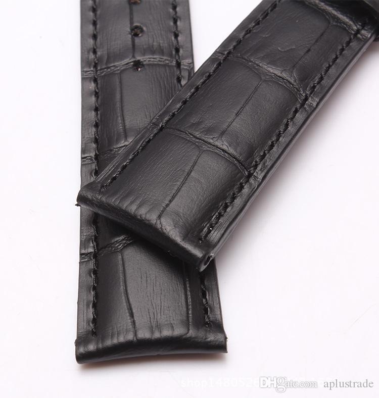Leder Uhrenarmbänder Schwarz Braun Uhrenarmband mit Federstab für IWC Kostenloser Versand
