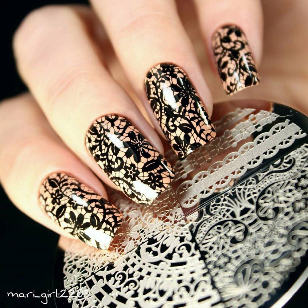 Best Born Pretty Chic Lace Pattern Nail Art Stamping Template Image