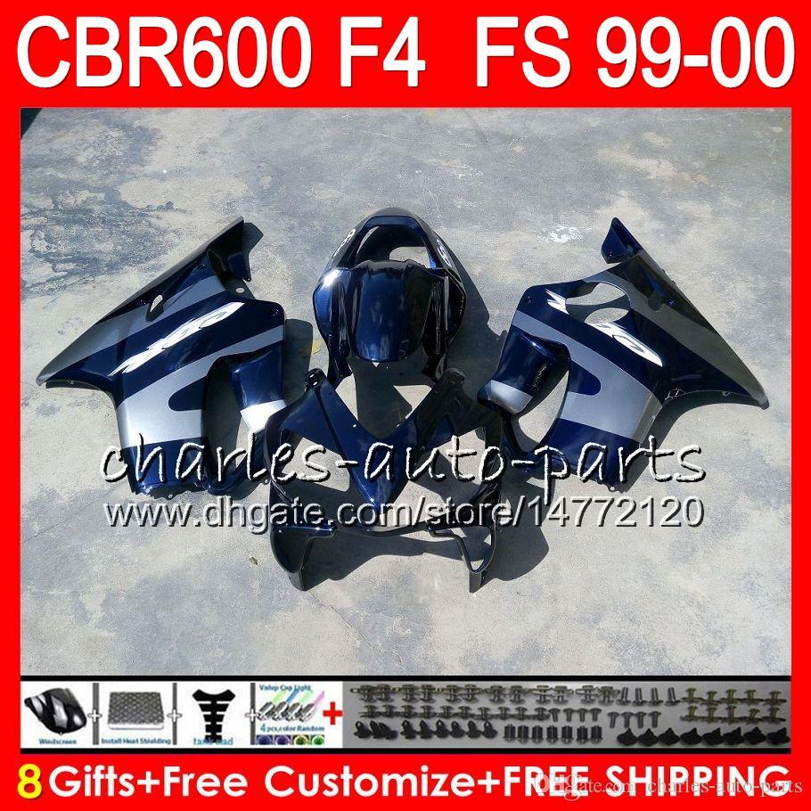 8Gifts Carrosserie Pour HONDA CBR600 F4 1999 2000 CBR 600F4 Bleu Argent 30NO68 CBR600F4 99 00 CBR 600 F4 99-00 CBR600FS FS Kit De Carénage