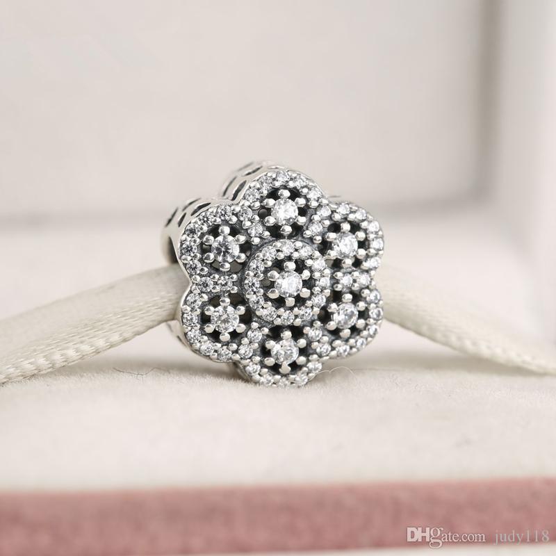 Memnon Bijoux 2016 Hiver De Noël 925 En Argent Sterling Mousseux CZ Pave Fleur Ajouré Charme Perles Pour La Fabrication de Bijoux DIY Accessoires