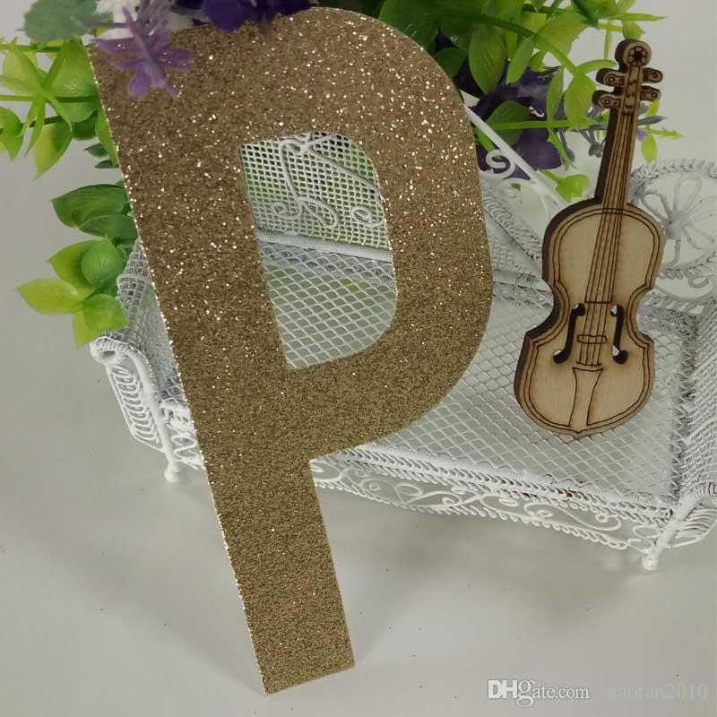 """Christmas ,Cake,Crafts gold glitter paper """"P"""" Decor Festive Birthday Party New Year"""
