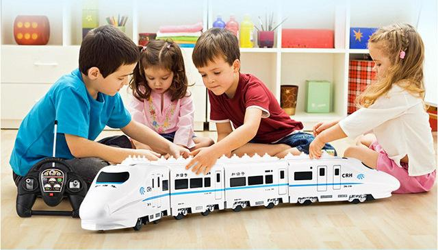 Wholesale-Huge Size Music RC Train Toy Electric Remote Control Rail 4W RC  Car Model Train For Kids Gift Railway Track Train Toyss