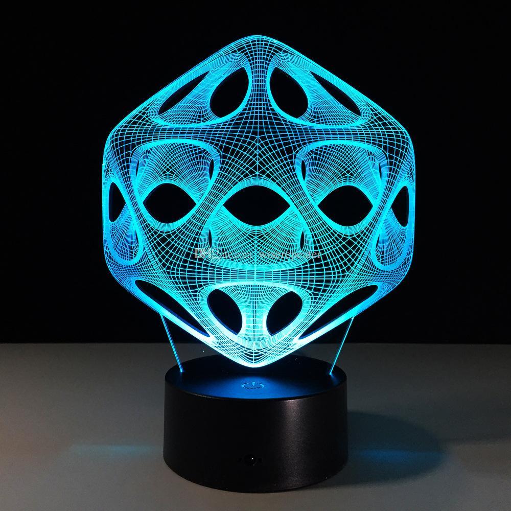 Acquista 2017 Luce Della Lampada Di Illusione Ottica Della Sfera Di Arte  Moderna 3D Luce 7 Luci Di RGB DC 5V Che Carica La Batteria Di Aa Batteria  Di ... 5738a7ae3b