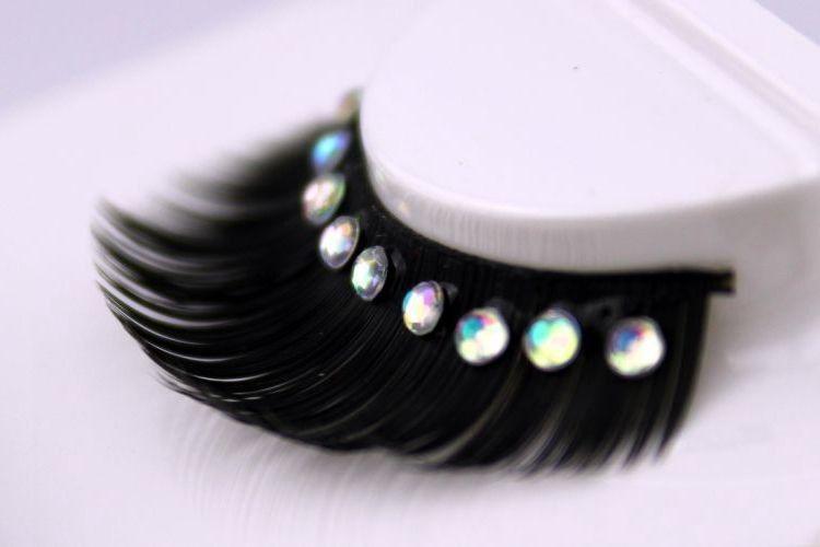 Strass übertrieben falsche Wimpern reine handgemachte Baumwolle Stiel weiche gefälschte Wimpern Laufsteg Bühne Makeup Tools Wimpern