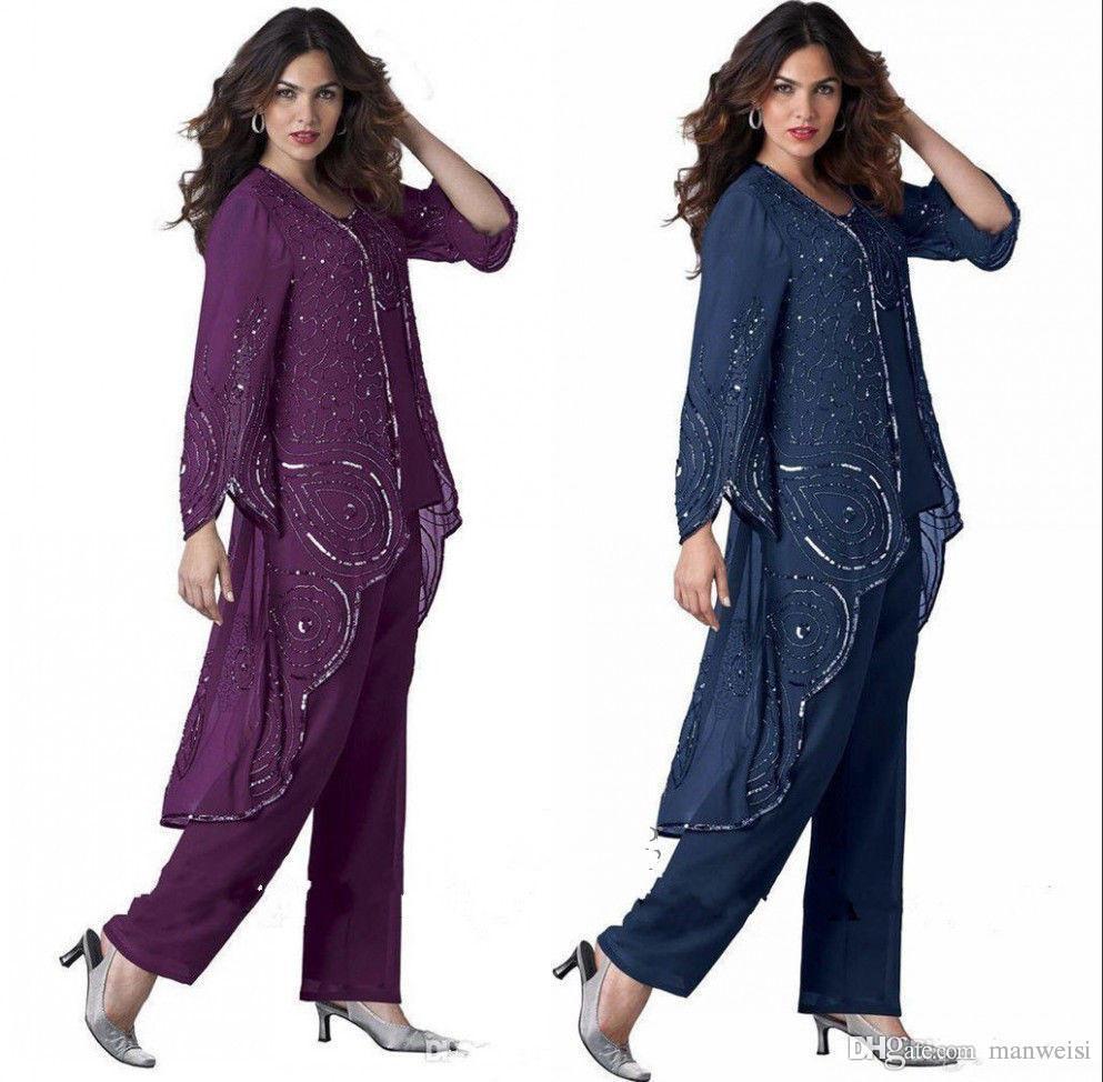 Marine Bleu Mère De Mariée Pantalon Costumes Pour Les Mariages Perlés Plus La Taille Robe De Marié Avec Veste Occasion Spéciale Maman Vêtement Vêtement
