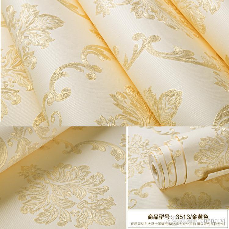 10m * 53cm Estilo europeo No tejido Wallpaper Grossening 3D Luxury Precision Damasco Dormitorio Sala de estar Fondo Fondo Papel de Pared Ambiente