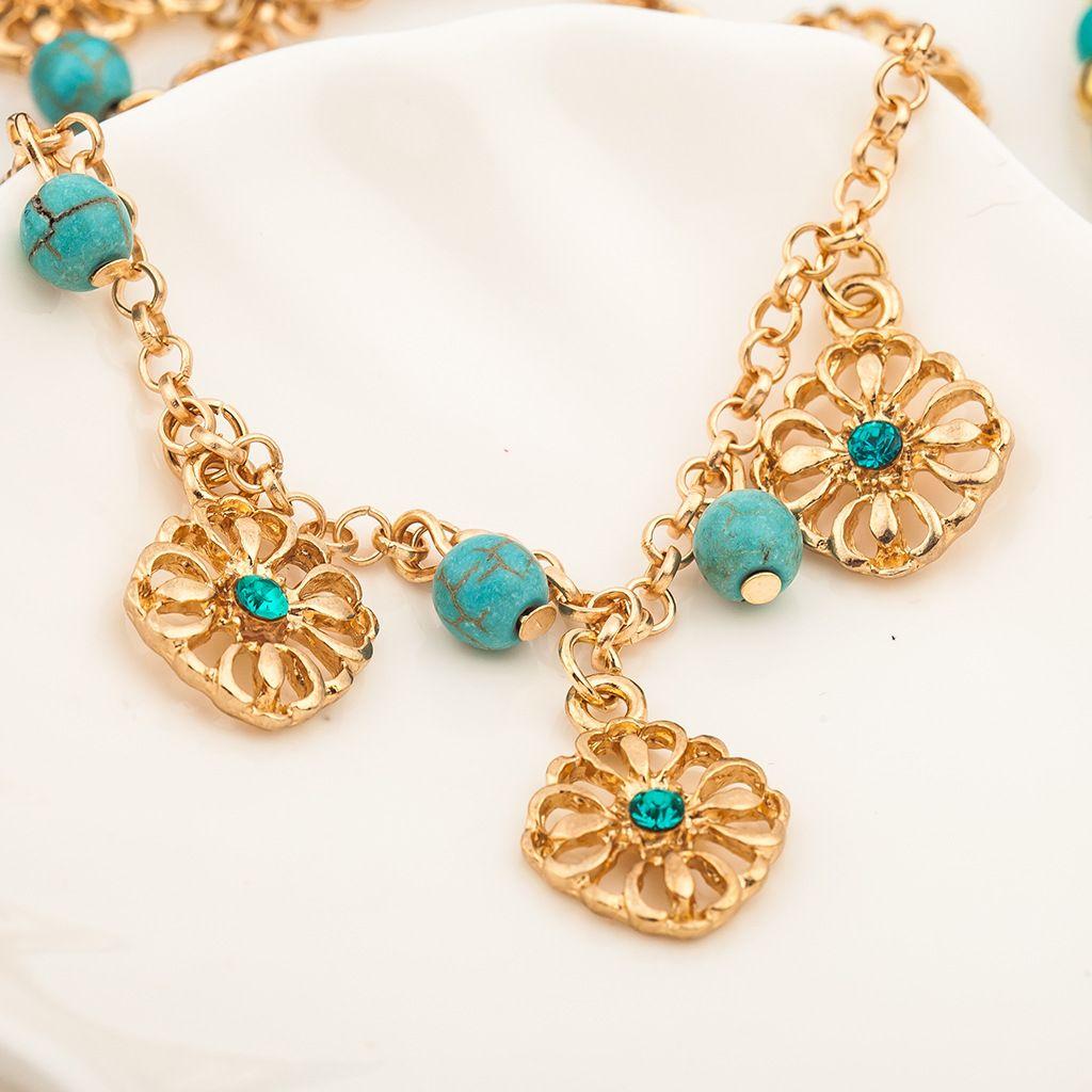 Turquoise Bracelets Bangle Fashion Retro Two Piece Sets Alloy Bracelet Hollow Flower Pendants Jewelry Beaded Strands New 2017