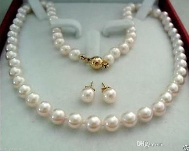 2cb3cb1e0151 Compre Broche De Oro De 14q 8 9mm Aaa + Pendiente De Collar De Perlas  Cultivadas De Akoya En Blanco A  15.06 Del Gems992