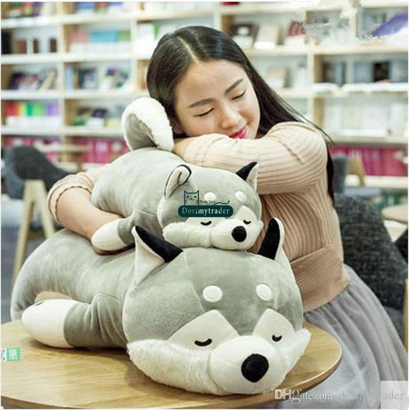 Dorimytrader 95cm Giant Pop Cute Soft Cartoon Lying Husky Plush Doll Pillow Big 35'' Stuffed Animal Dog Toy Baby Present DY60084