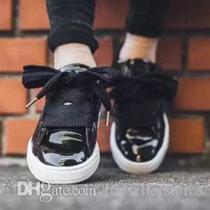 the latest c08a5 338ea Fashion Bow Tie Suede Basket Heart Women Black White Board shoes Ladies Bow  Rihanna Casual Shoes High Quality Size 36-39