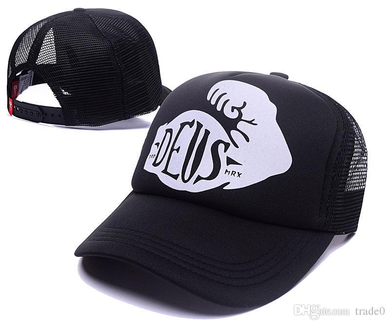 Casquette Deus Ex Machina Baylands Trucker noire Mototcycles chapeaux casquette maille baseball casquette Strapback