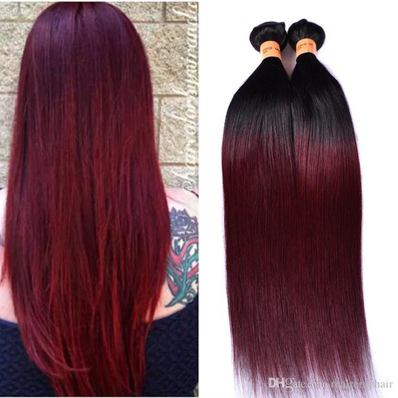 Passion Ombre Straight Hair Weaves 4 Bundles Dark Red 1b 99j