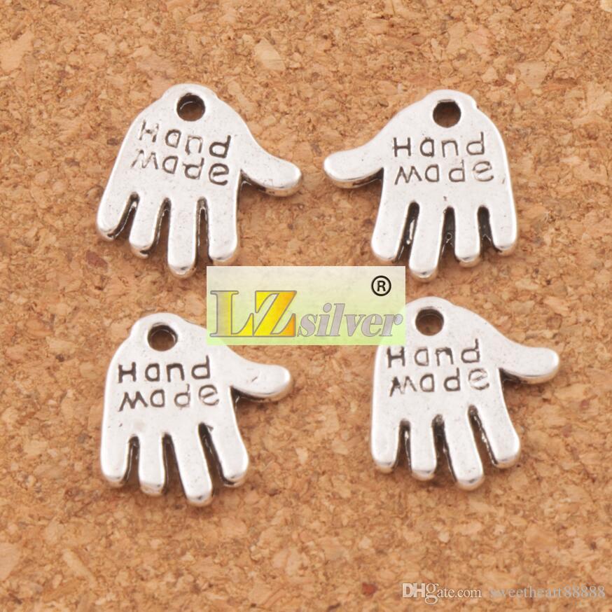 Feitos à mão mão encantos pingentes 13x11mm 200 pçs / lote prata tibetana / bronze fit pulseiras colares jóias diy l370